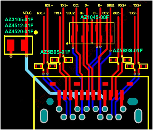 Figure 4: ESD/EOS protection solution for USB4 interface wiring